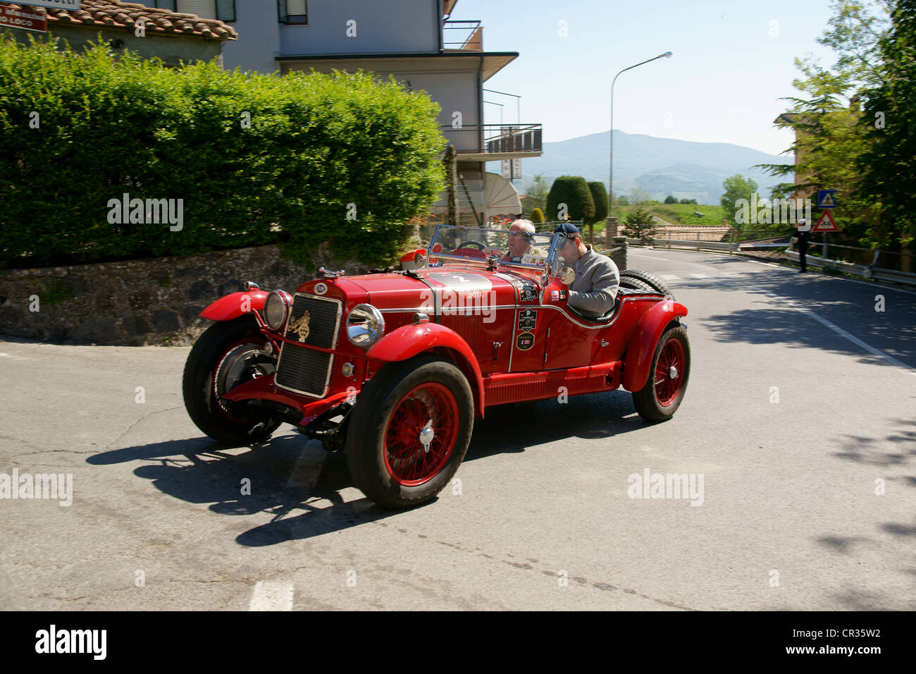 OM 665 Superba, 1929 3, Johann Georg Fendt, Corinna Fendt, vintage car race Mille Miglia or 1000 Miglia, Radicofani, Stock Photo