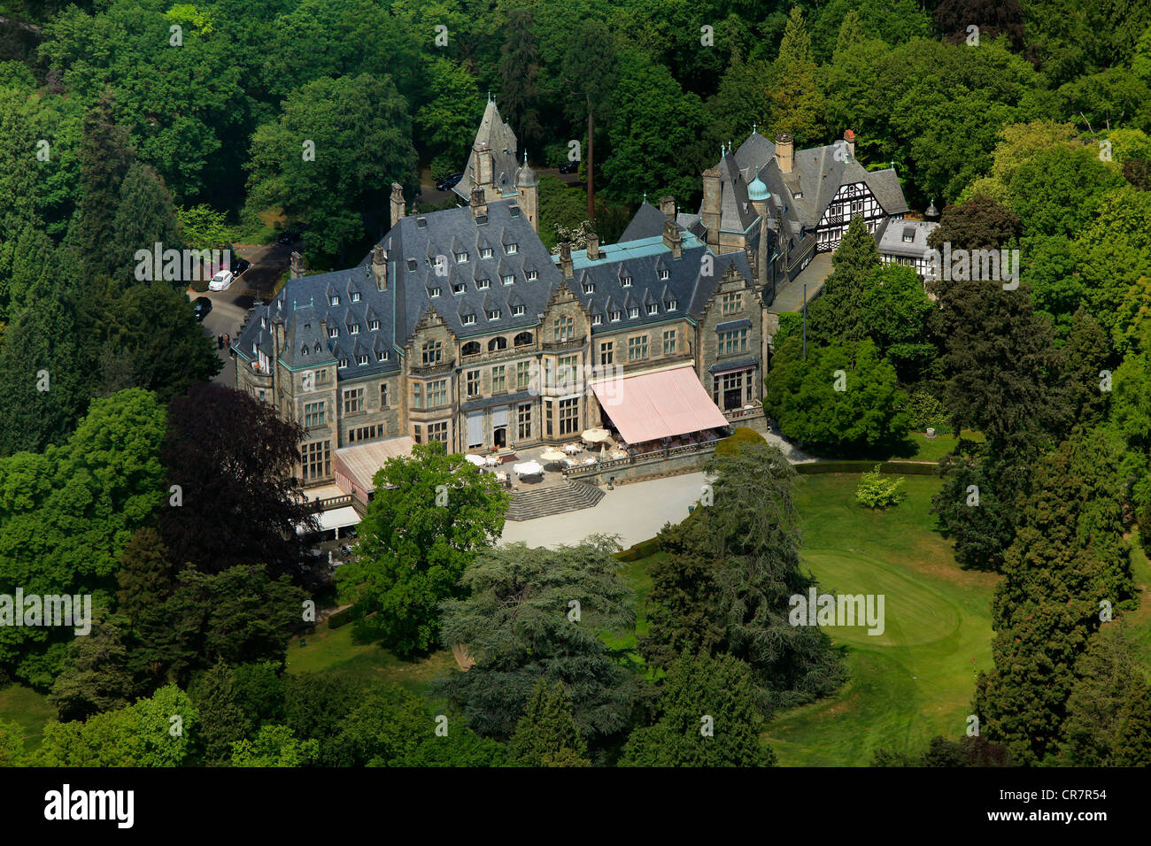 aerial view schlosshotel kronberg castle hotel kronberg golf and stock photo royalty free. Black Bedroom Furniture Sets. Home Design Ideas