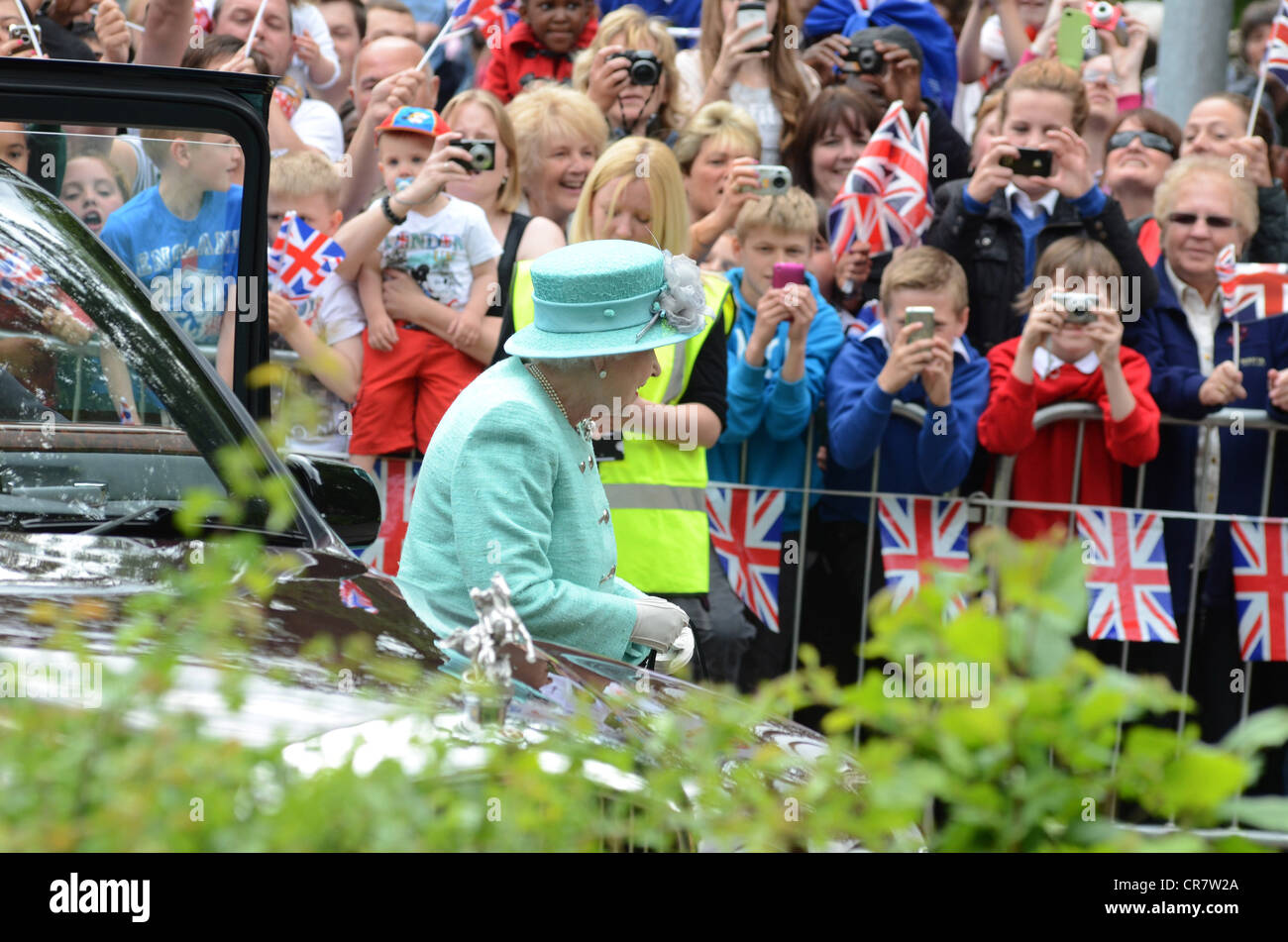 Hm The Queen Visiting Corby Swimming Pool Northamptonshire 13th Stock Photo Royalty Free