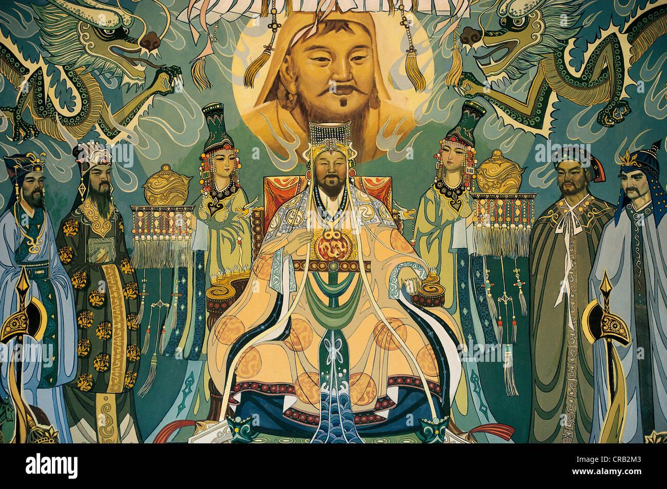 mural with genghis khan temujin great khan of the mongol