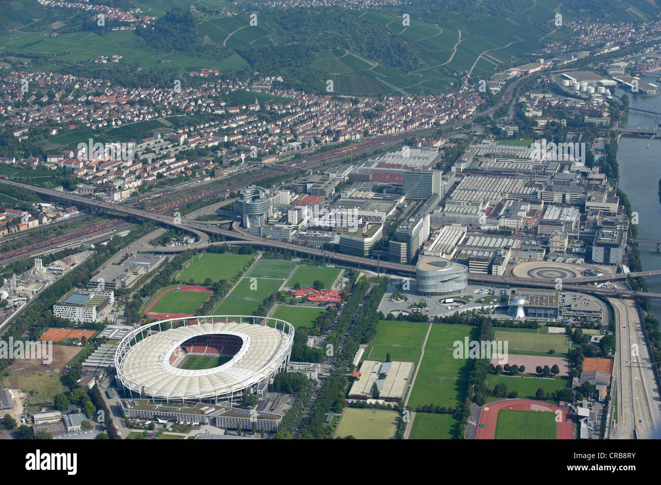 aerial view neckarpark vfb stuttgart football stadium stock photo royalty free image. Black Bedroom Furniture Sets. Home Design Ideas