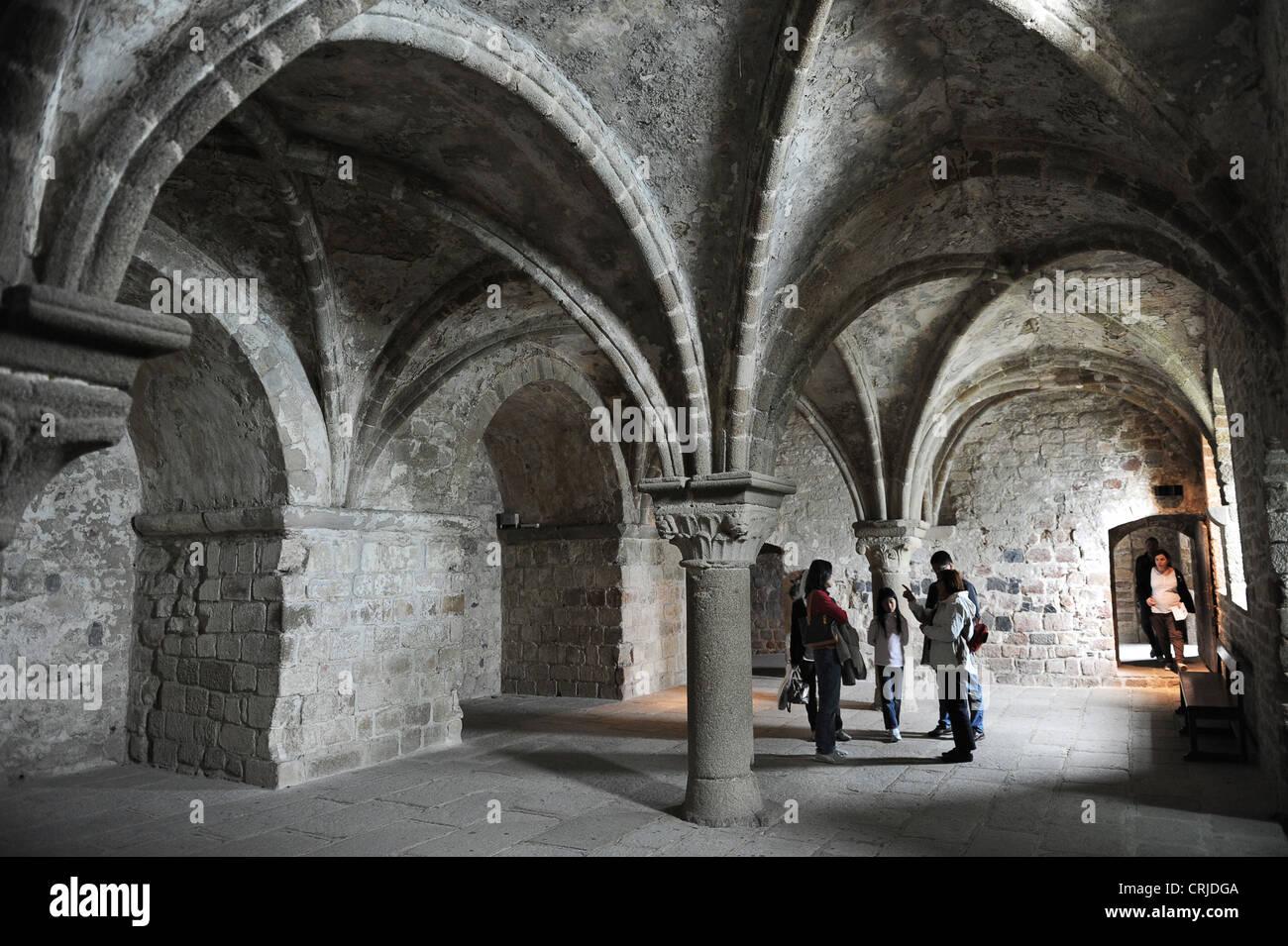 Le mont saint michel gothic interior stock photo royalty for Mont saint michel interieur