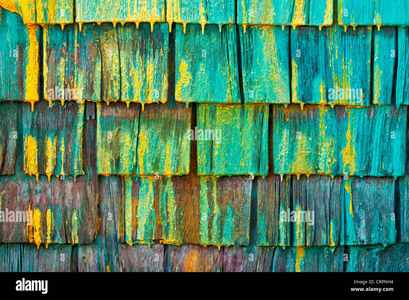 Shingled wall of a fisherman's shed in Nova Scotia, Canada. Stock Foto