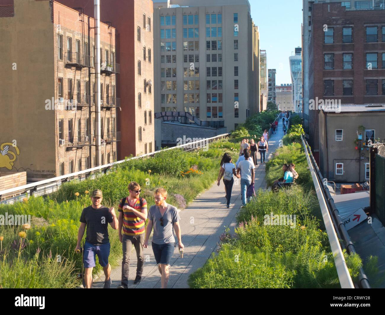 High Line Park garden New York City Stock Photo