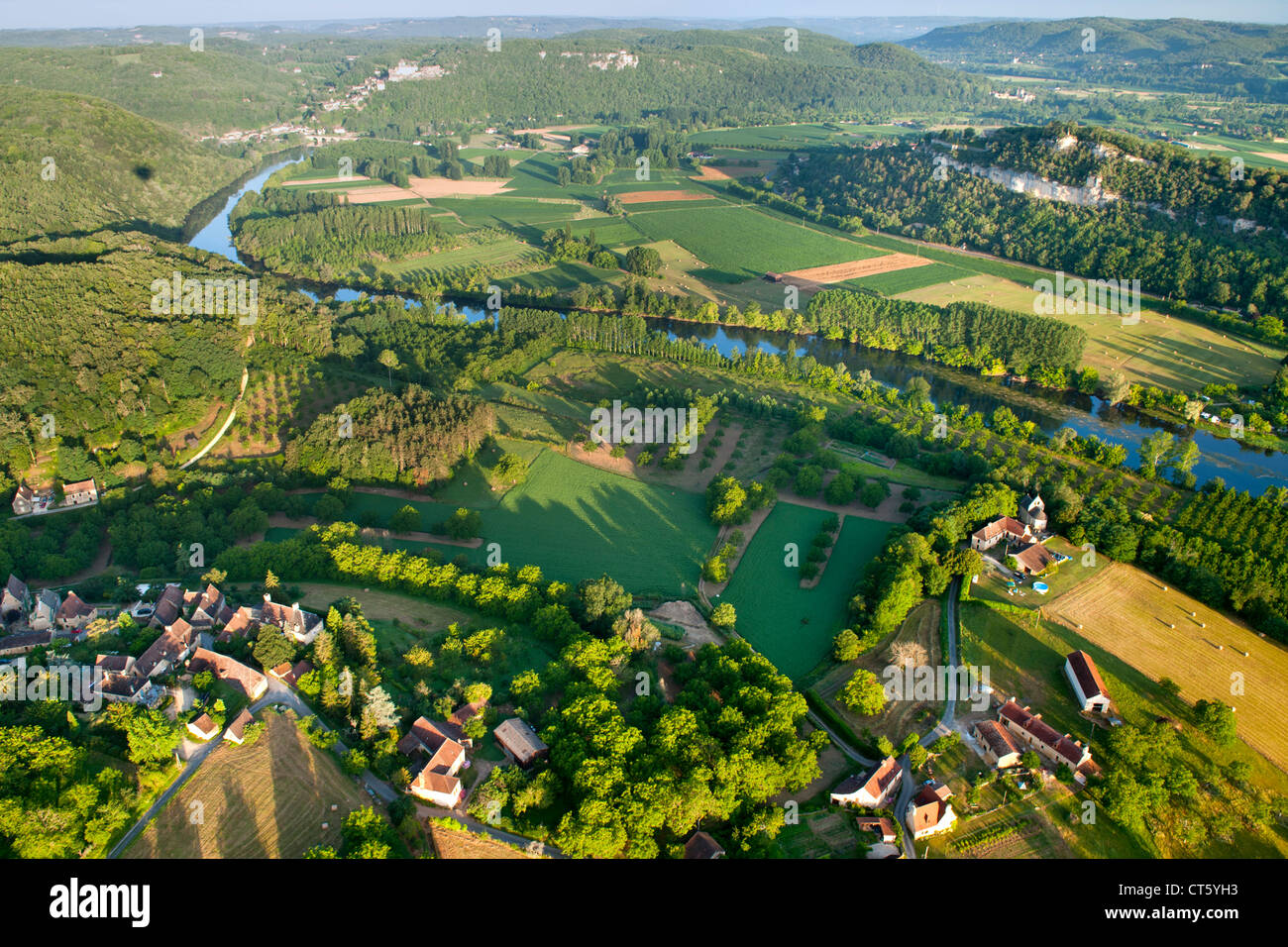aerial view of the dordogne river and surrounding countryside near stock photo royalty free. Black Bedroom Furniture Sets. Home Design Ideas