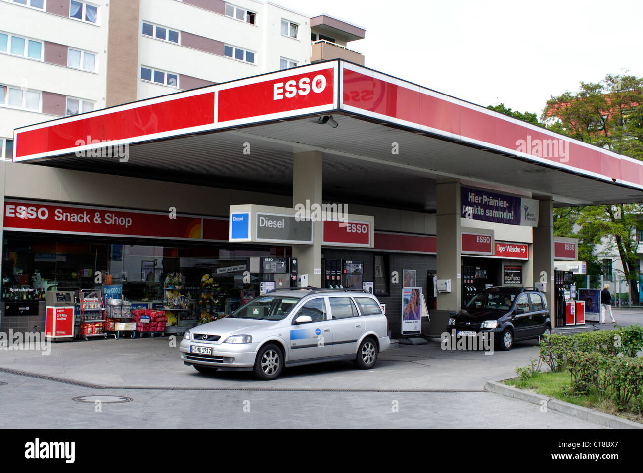 berlin esso gas station stock photo royalty free image. Black Bedroom Furniture Sets. Home Design Ideas