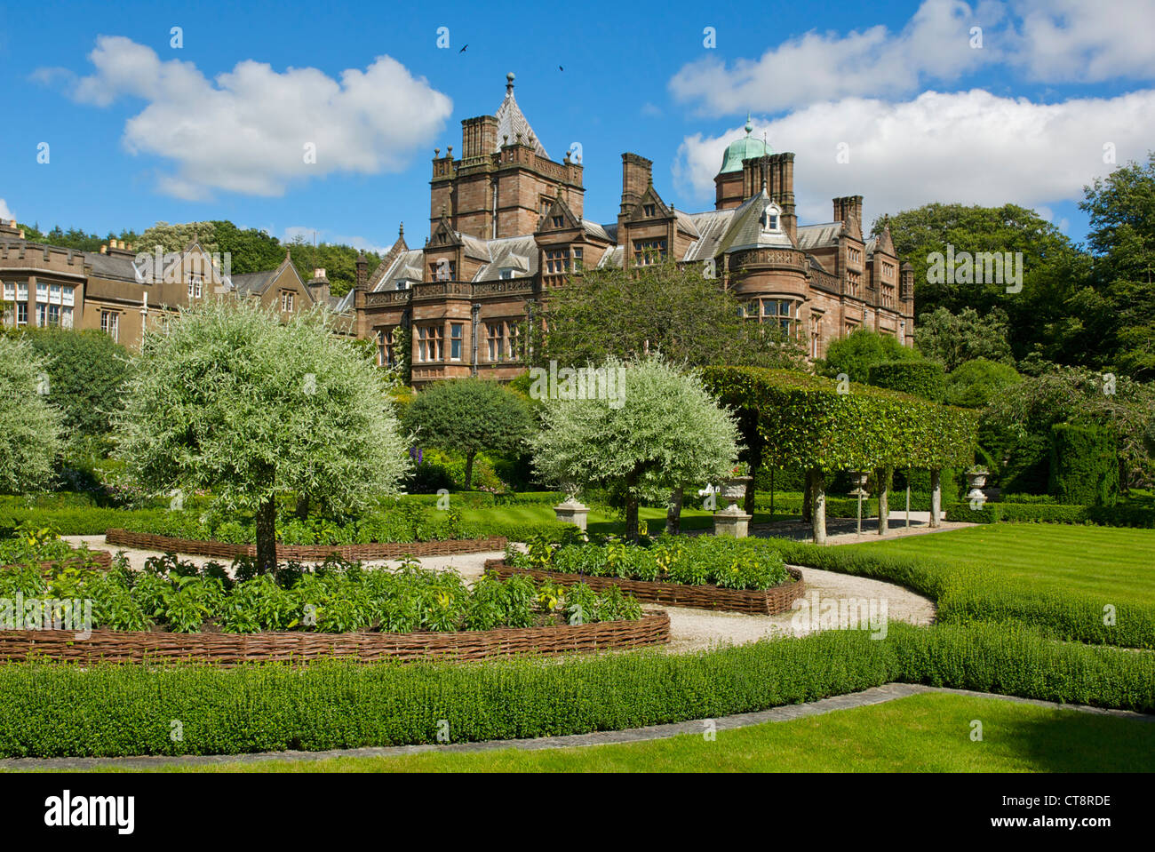 the formal gardens at holker hall south lakeland cumbria