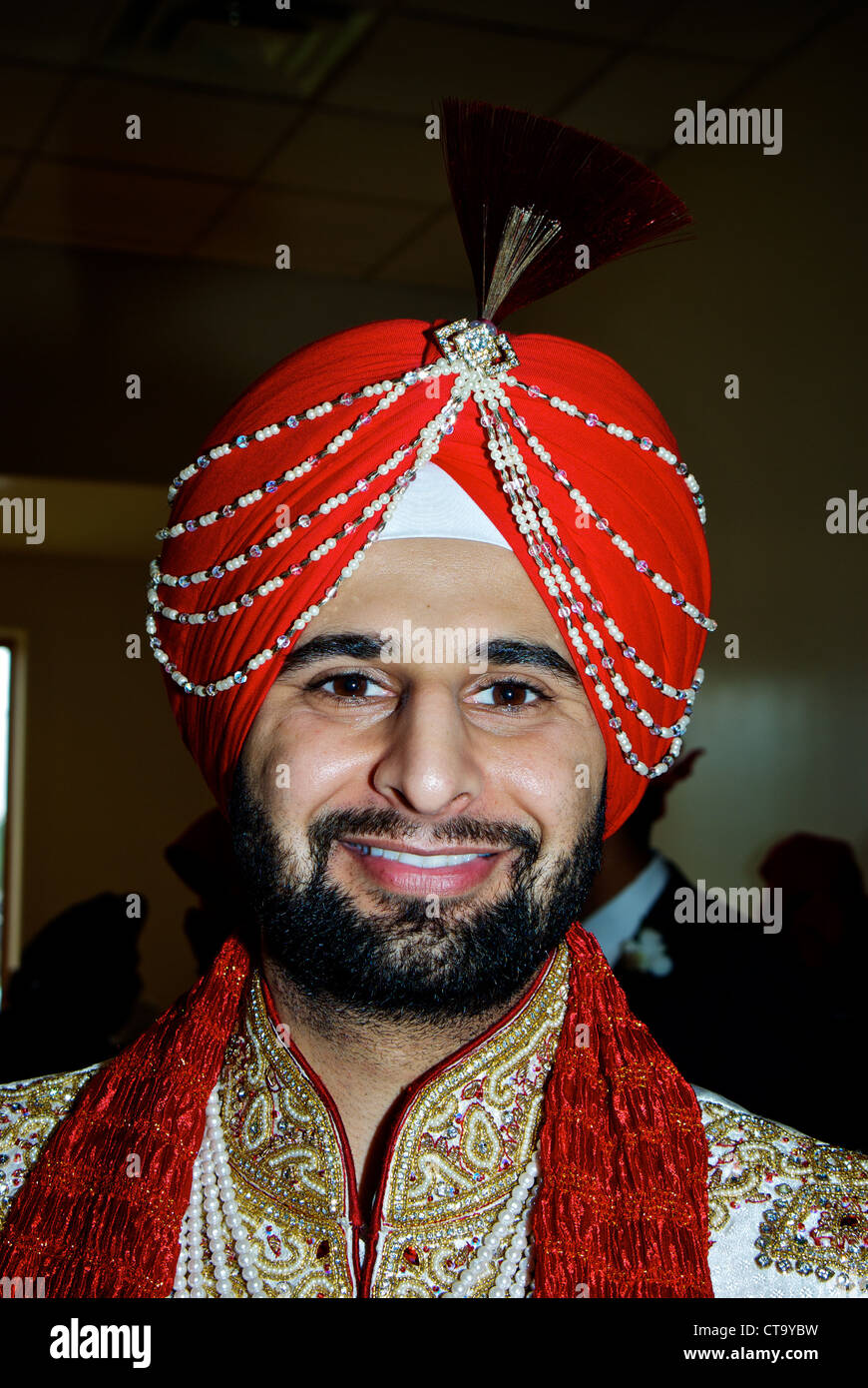 Traditional East Indian Wedding Groom Red Turban Special