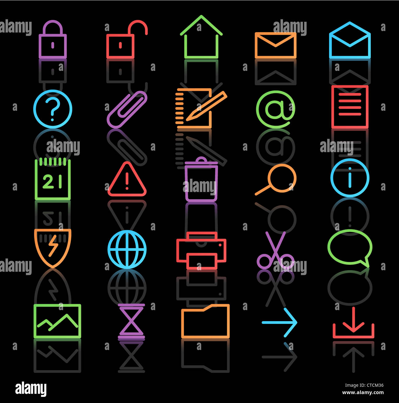 Vector set of elegant neon simple icons for common computer functions Stock Photo