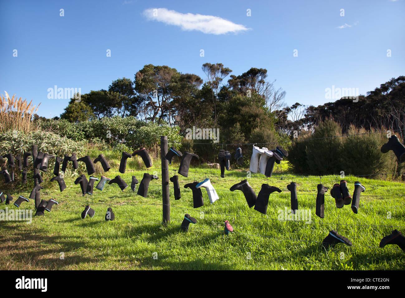 New Zealand Shoes On Fence
