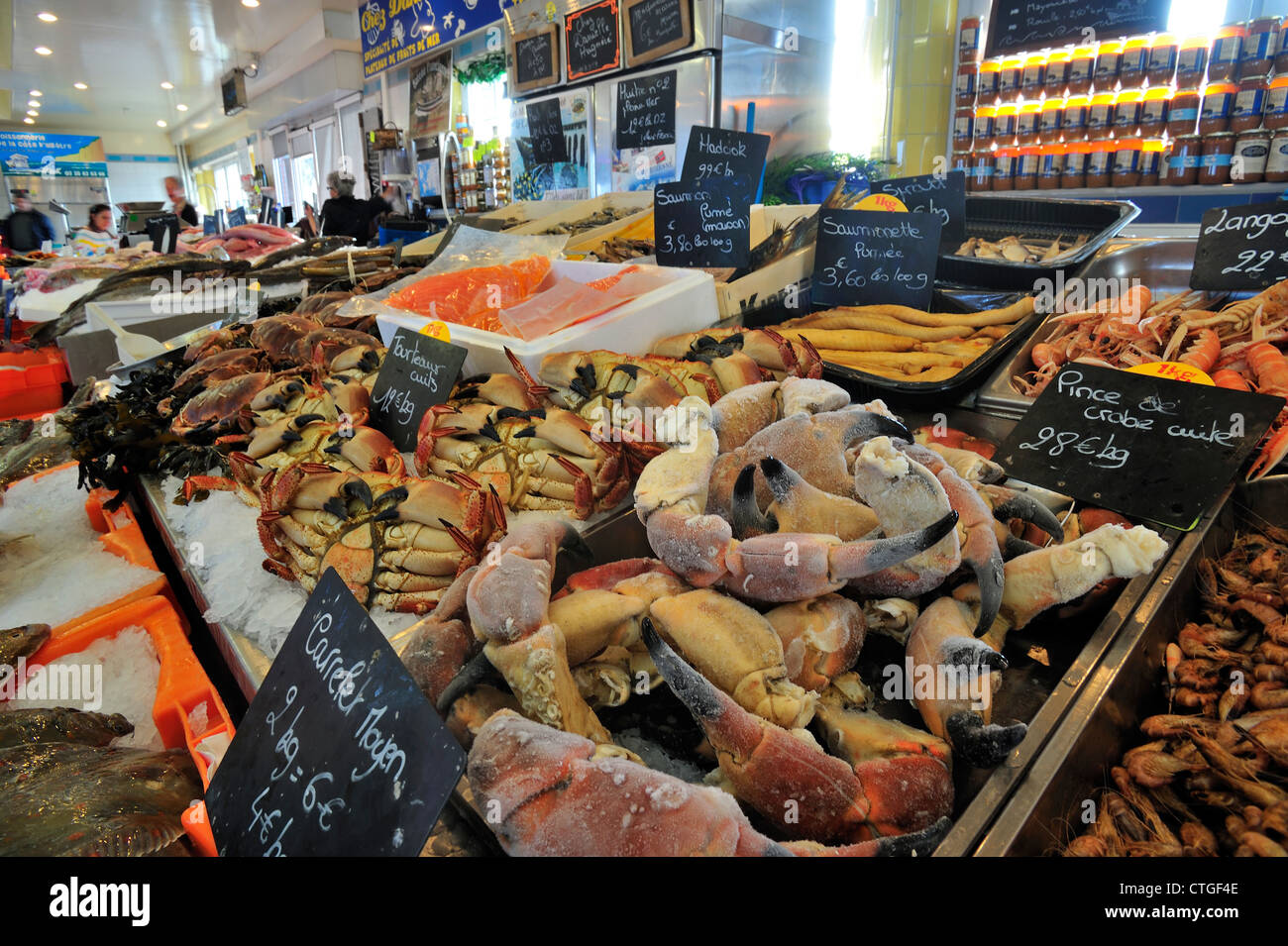 Fresh crabs and seafood on display at indoor fish market for La fish market