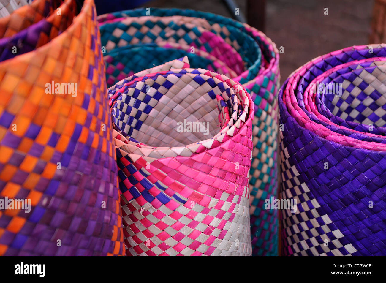 Neatly Woven Straw Mat And A Range Of Colors Traditional