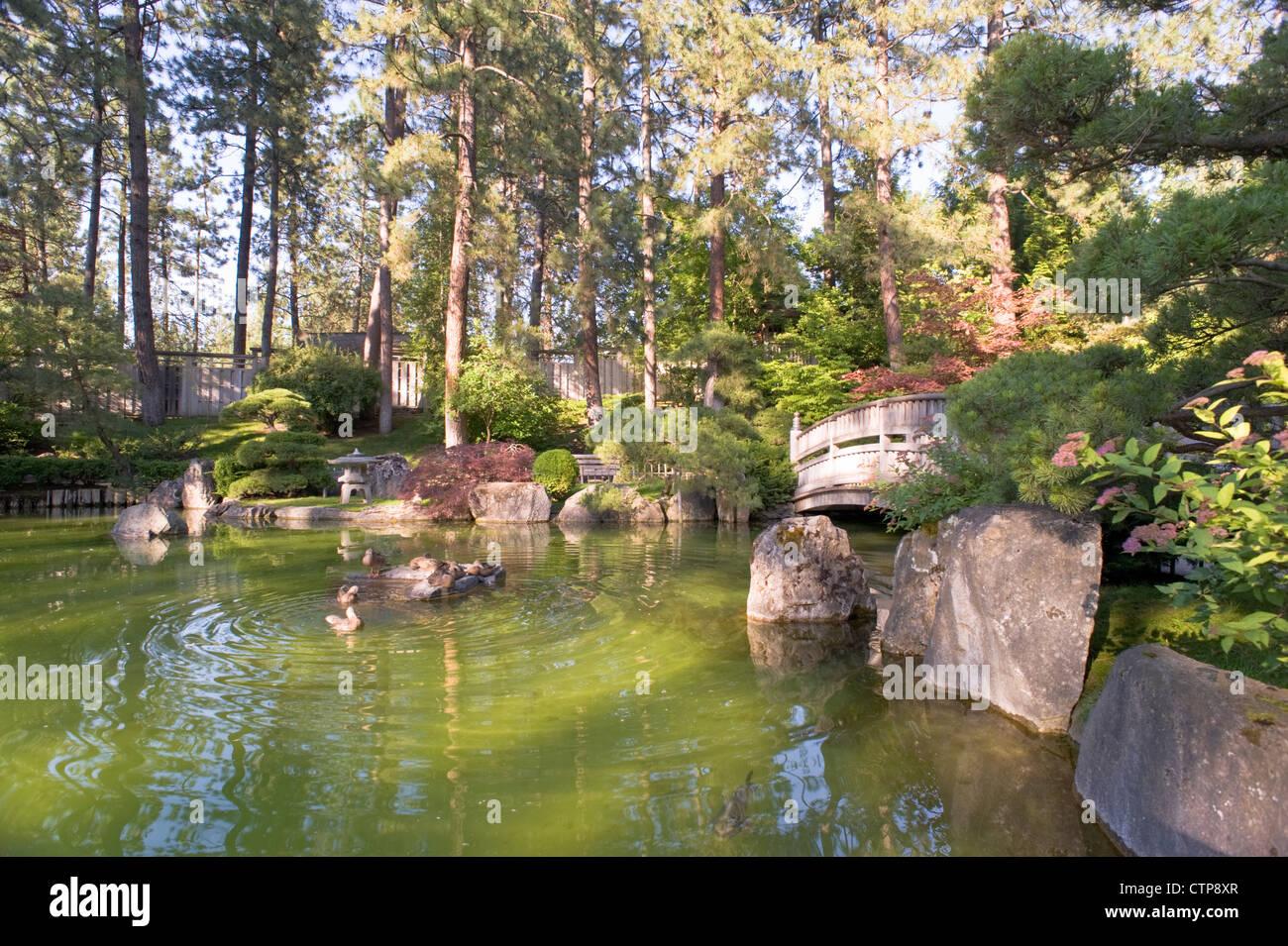 The Restful Nishinomiya Japanese Garden At Manito Park And Botanical Stock Photo Royalty Free