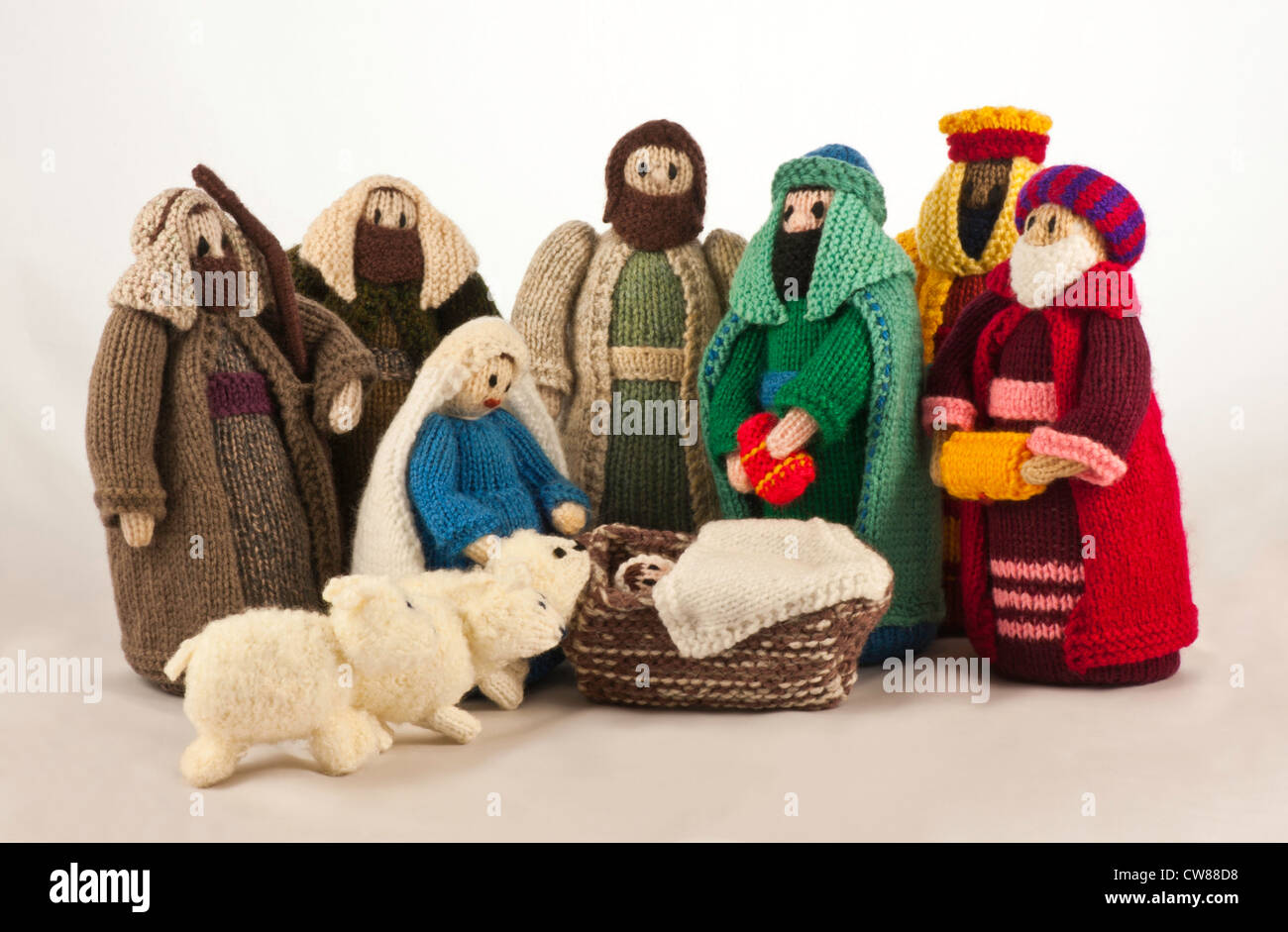 knitted nativity scene with mary  joseph  baby jesus  two