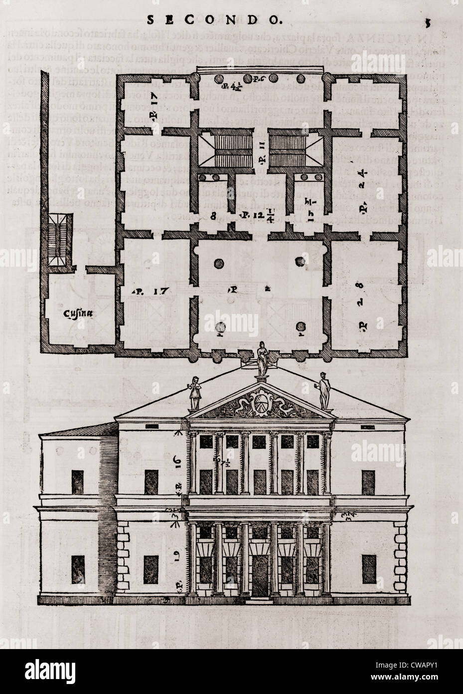 Floor plan and elevation of a classical style house from for Stock house plans