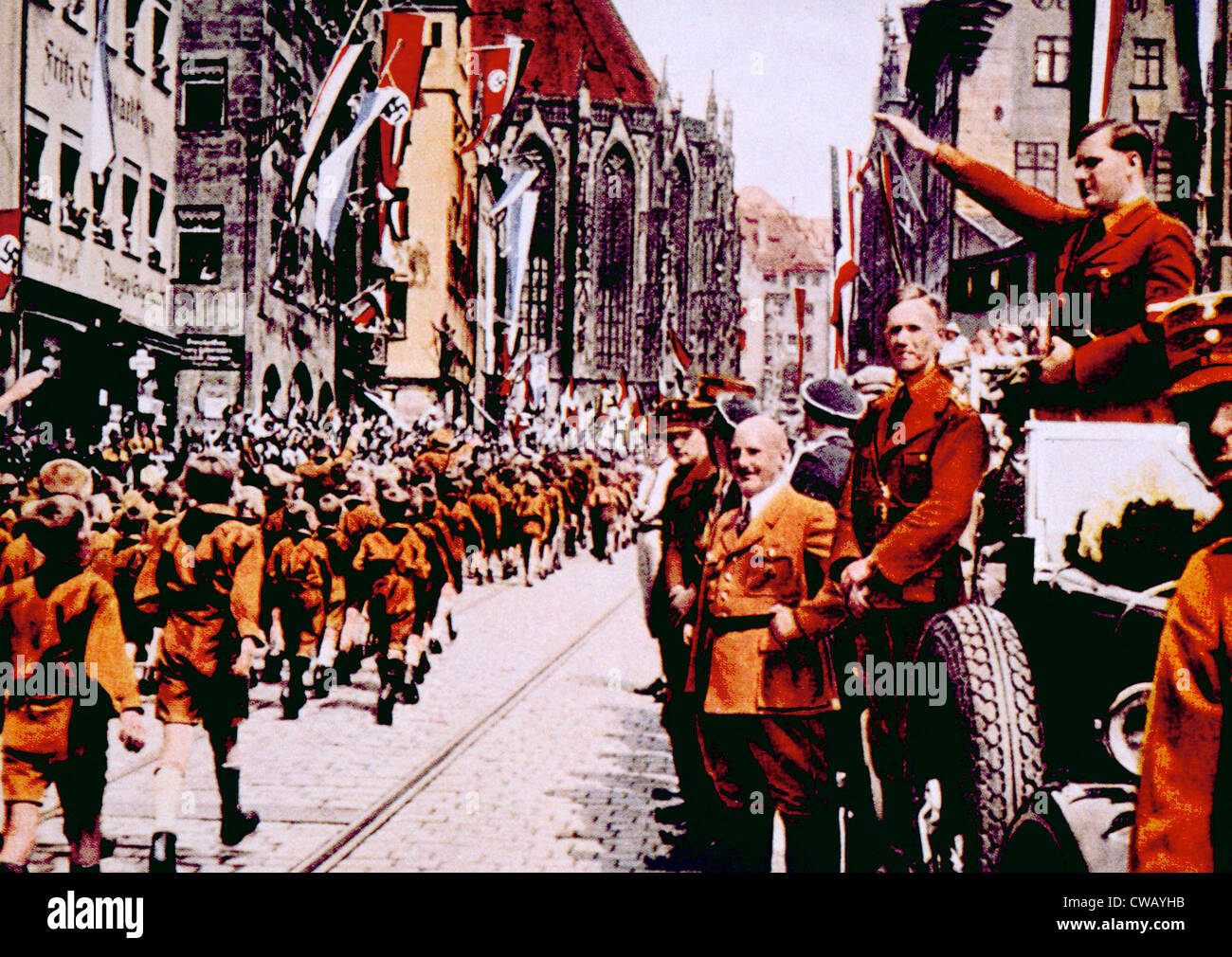 Nazi Germany, Members of the Hitler Jugund march before their leader, Baldur von Shirach, during rally in Nuremberg, Stock Photo