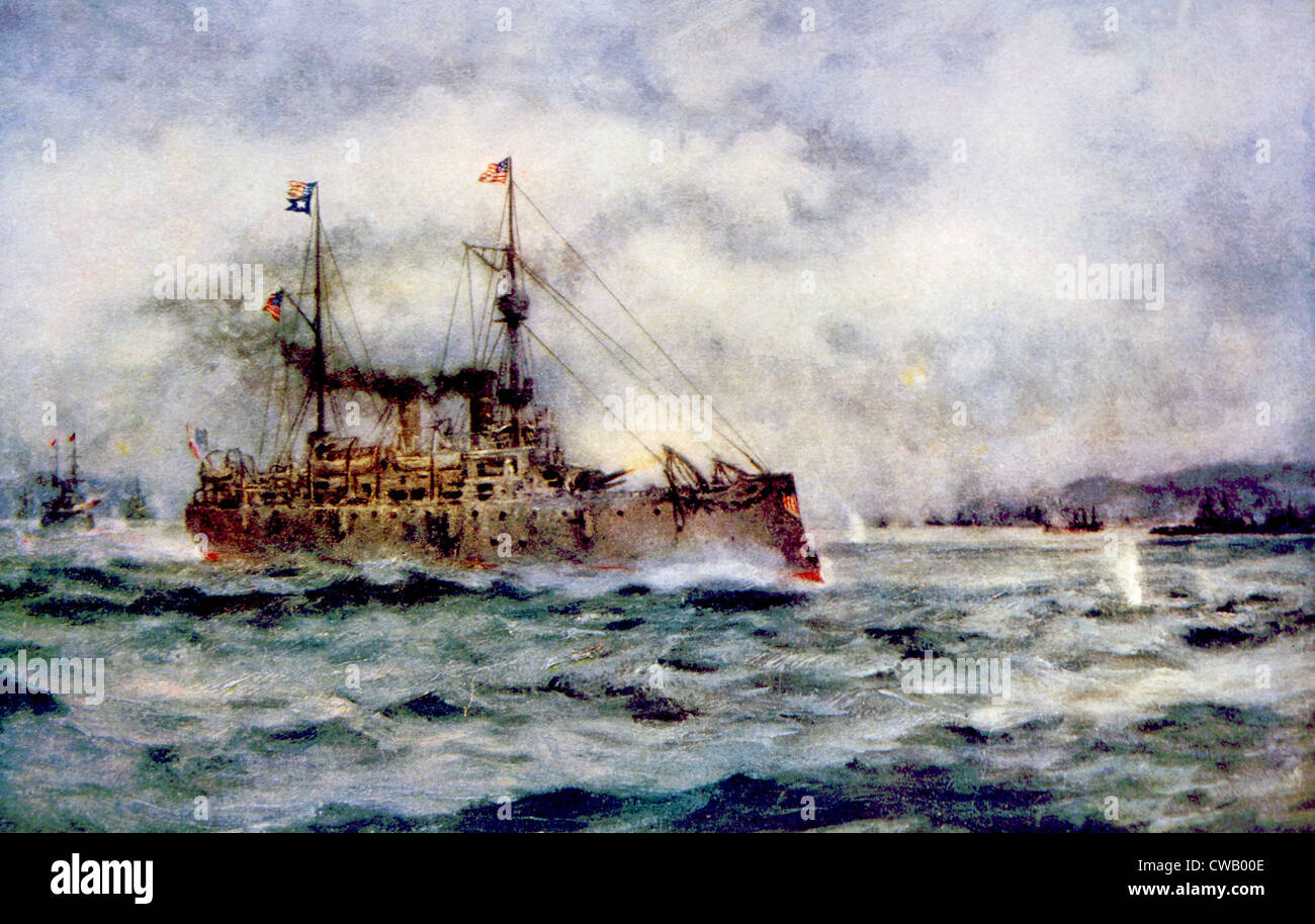 The Battle of Manila Bay, the American cruiser Olympia firing the first shot, May 1, 1898, painting by Robert Hopkin Stock Foto