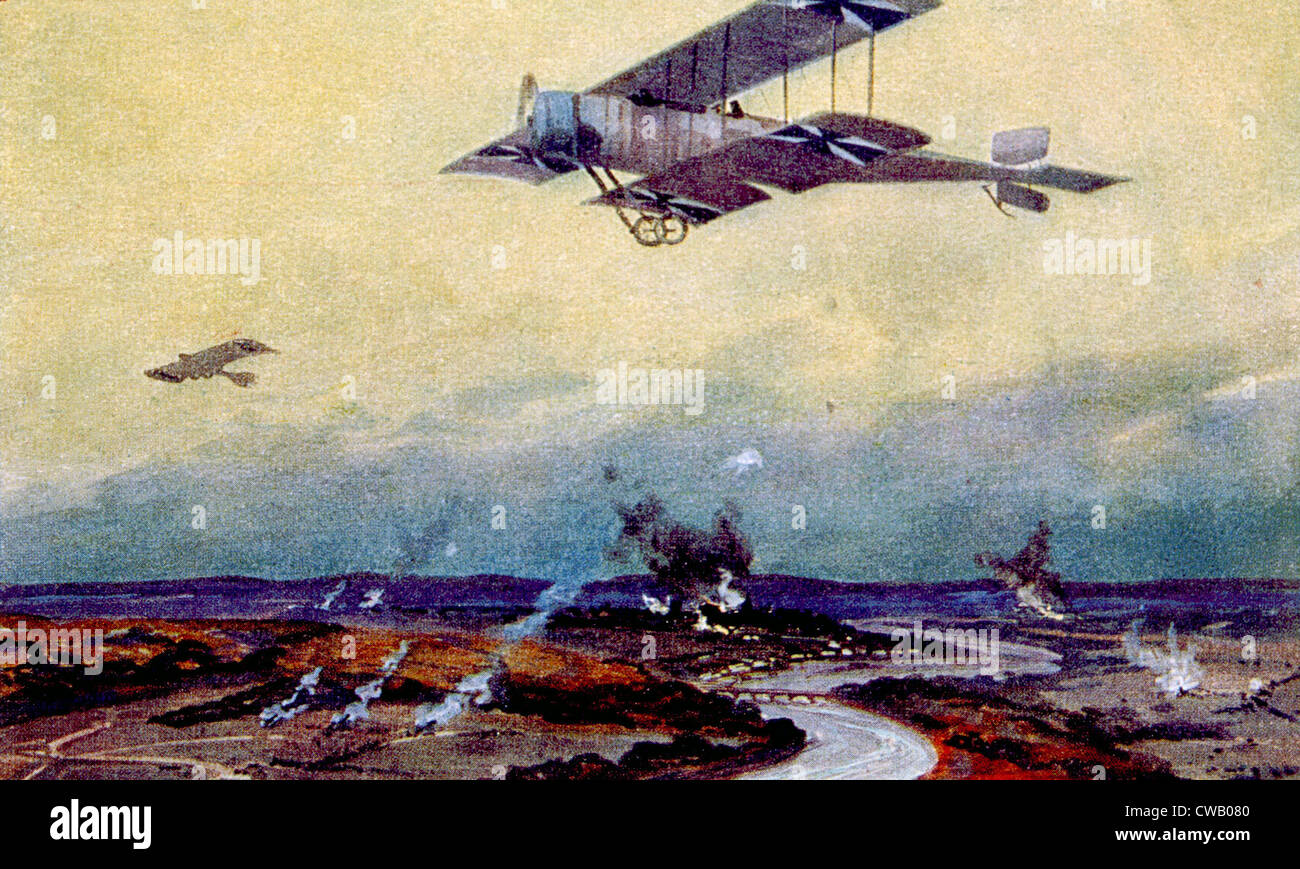 World War I, German biplane on reconnaissance over the Marne, painting by Hans Rudolf Schulze Stock Foto