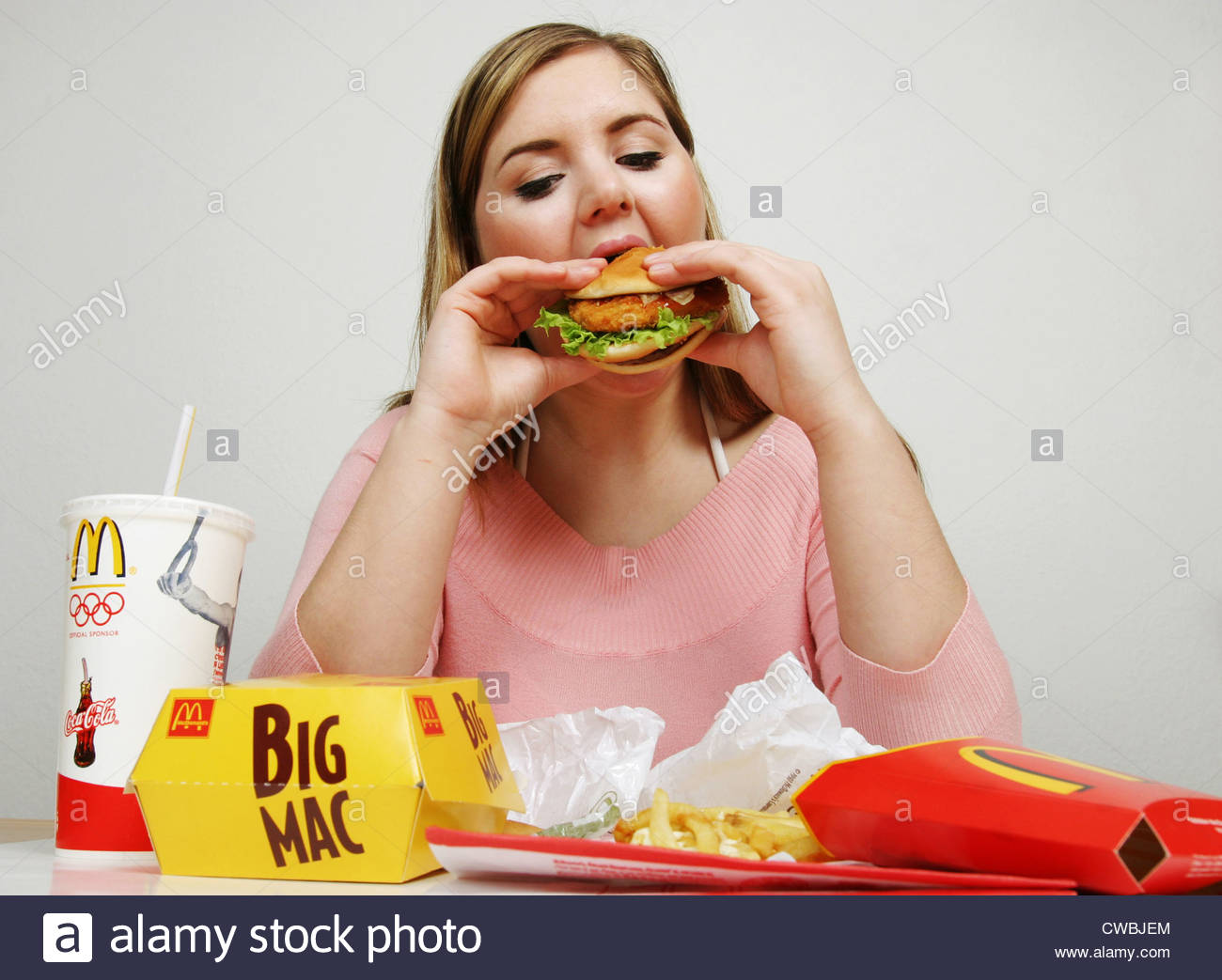 Chubby girl eating