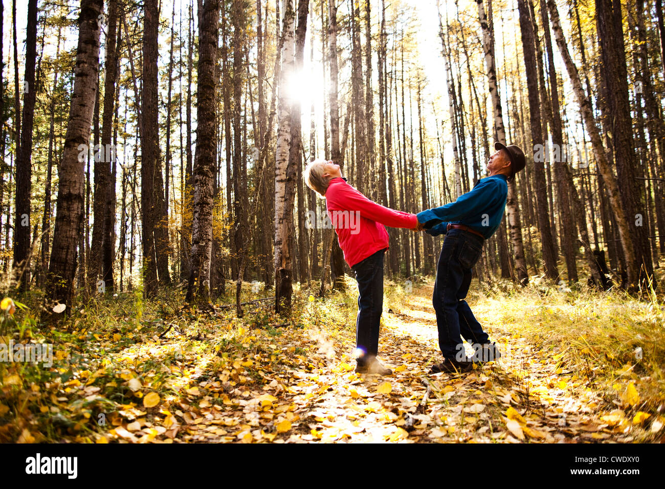 A happy retired couple laughing and smiling while on a hike through a forest during the fall in Idaho. Stock Foto