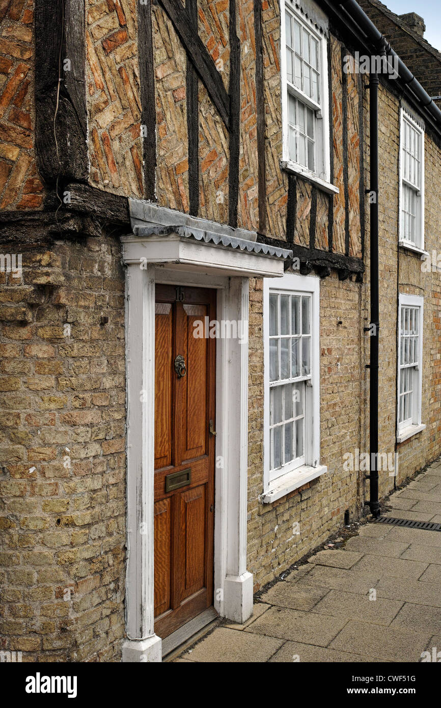 Old Terraced House Built Of Brick With Timber Frame In