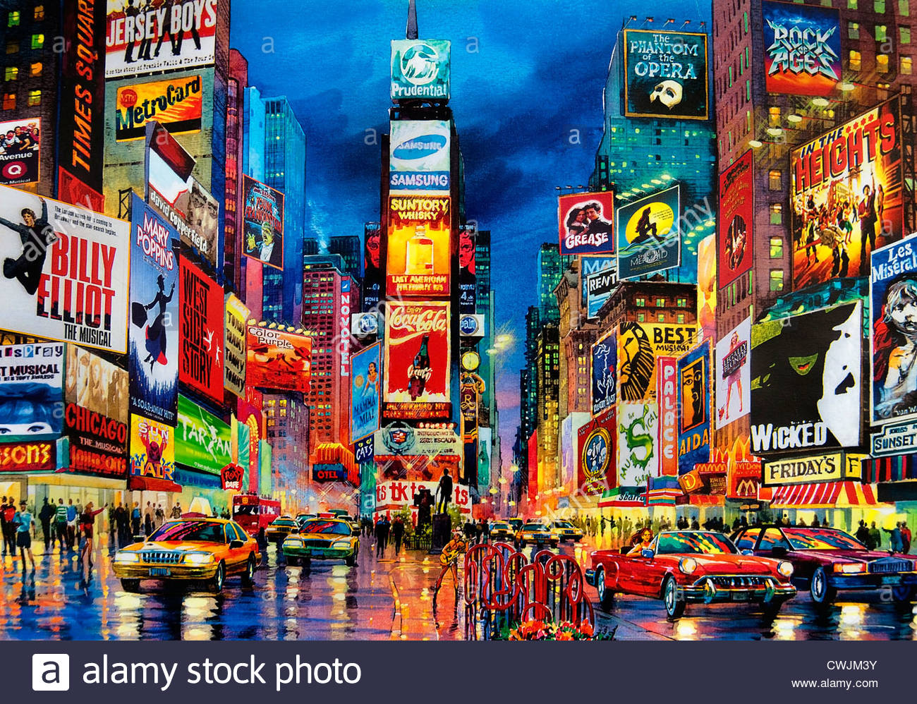 Painting Times Square Broadway New York City Theater Musical Stock Photo 50198063 Alamy