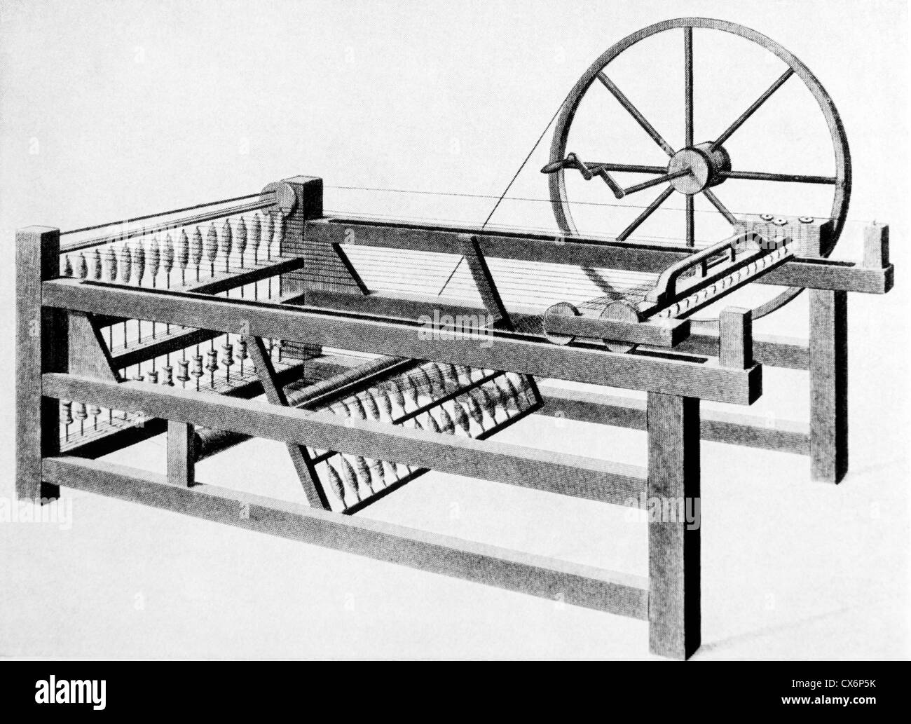 Spinning Jenny by James Hargreaves, Print Stock Photo