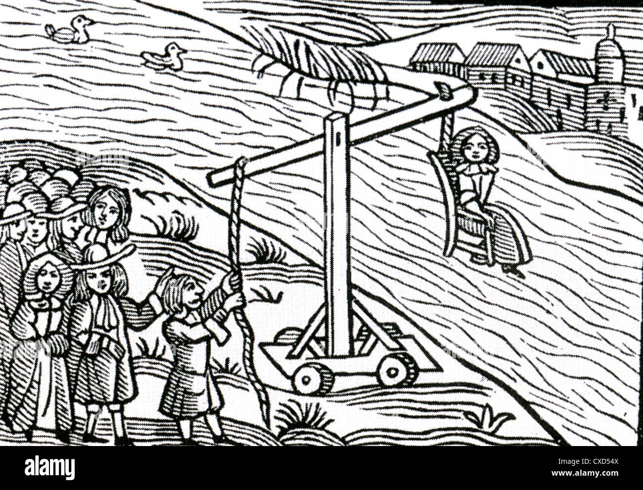 CUCKING STOOL Elizabethan woodcut of a woman being punished for being a scold (ie talking too much) Stock Photo