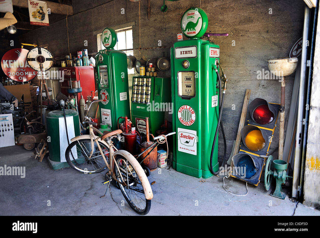 garage with vintage petrol pumps gay parita sinclair. Black Bedroom Furniture Sets. Home Design Ideas