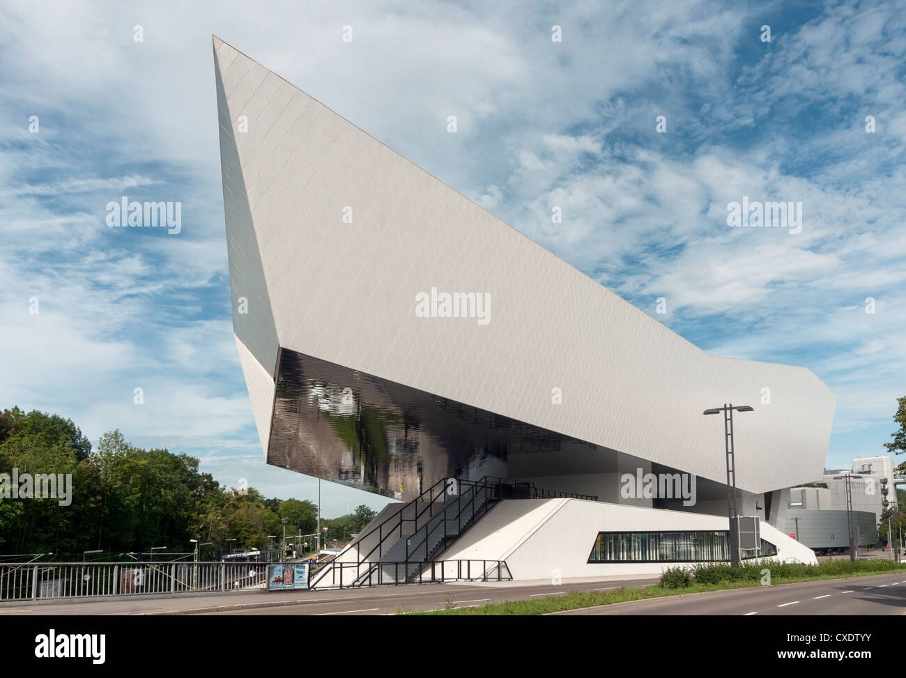 porsche museum building designed by delugan meissl stuttgart stock photo royalty free image. Black Bedroom Furniture Sets. Home Design Ideas