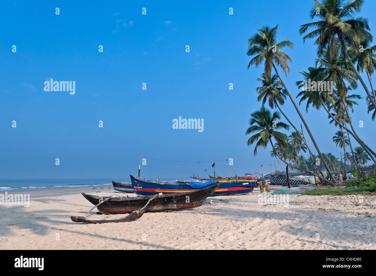 Fishing boats Colva Beach Goa India Stock Photo