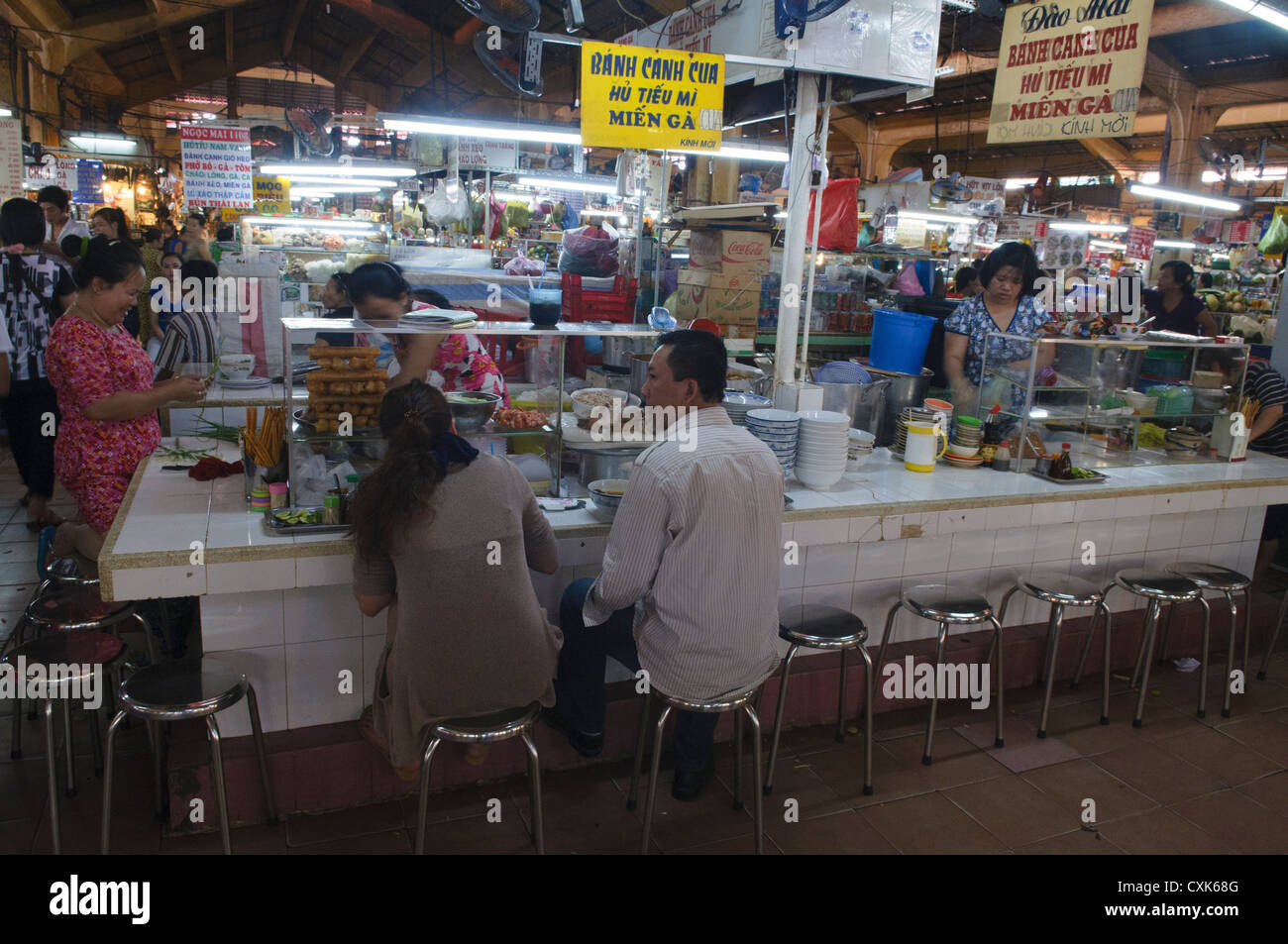 Stock Photo - food stall inside the Ben Thanh Market in Ho Chi Minh City in Vietnam
