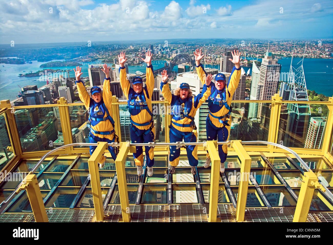 australia sydney new south wales tourists jump of joy