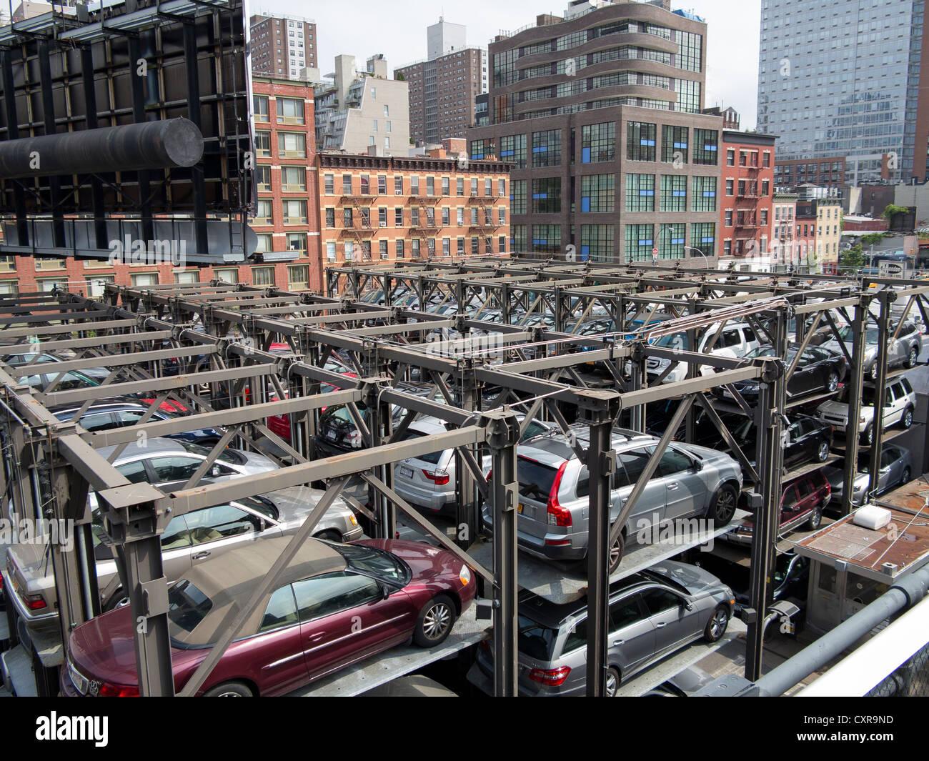 Car Park Stacked Parking Garage Manhattan New York City
