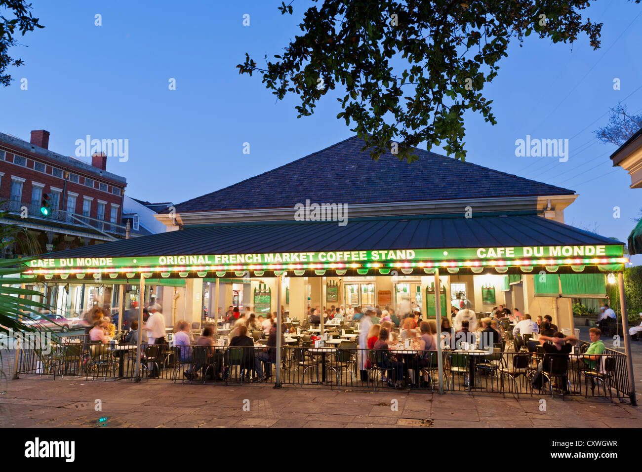 cafe du monde french market coffee stand french quarter new stock photo royalty free image. Black Bedroom Furniture Sets. Home Design Ideas