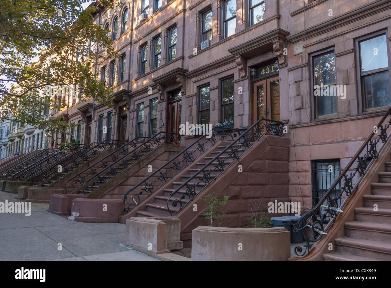 New York Row Houses : New york city ny usa street scenes historic townhouses