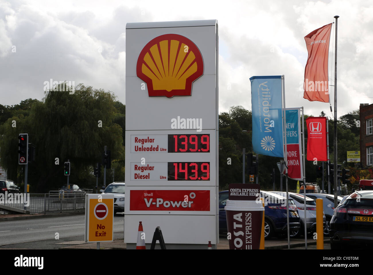 shell petrol station sign vpower regular unleaded and