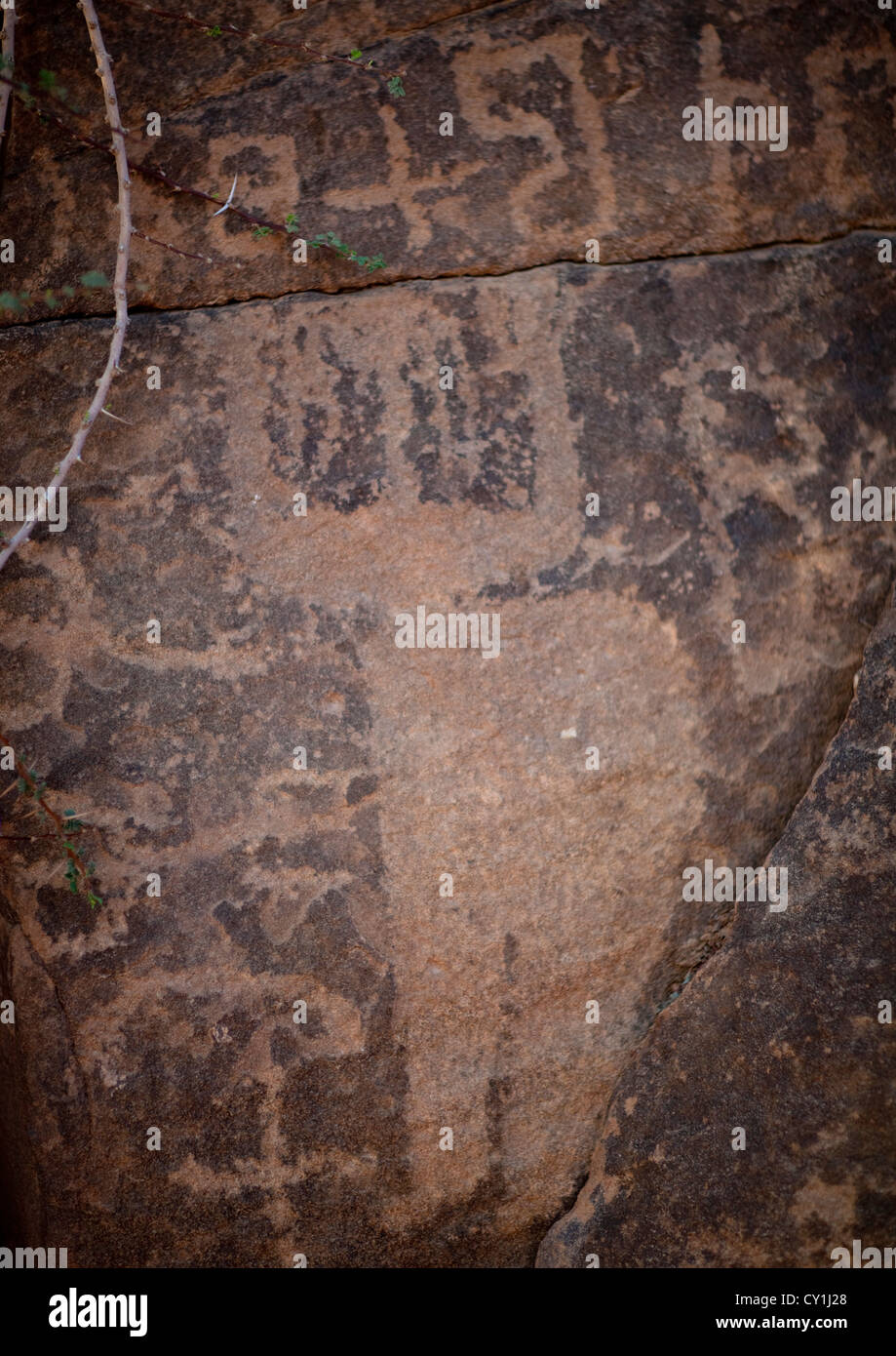 Rock carving in abar himma near najran saudi arabia