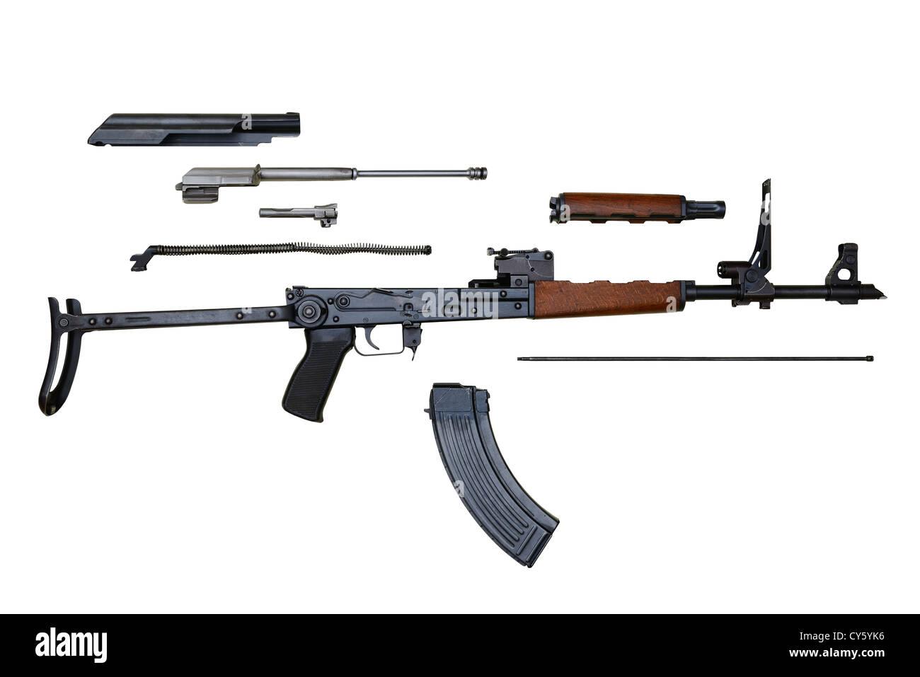 AK47 AKMS Kalashnikov Assault Rifle Stripped For Cleaning