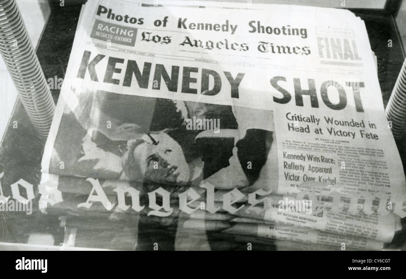 ROBERT F. KENNEDY (1925-1968)  Front page of the Los Angeles Times detailing his murder on 5 June 1968 Stock Foto