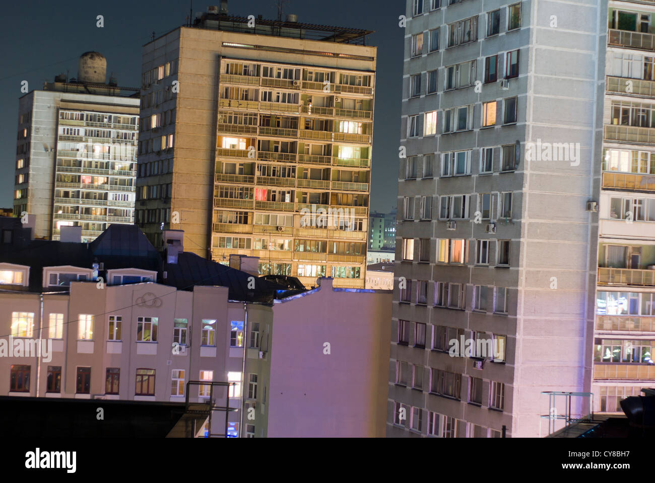 Moscow Apartment Blocks By Night Near The City Centre
