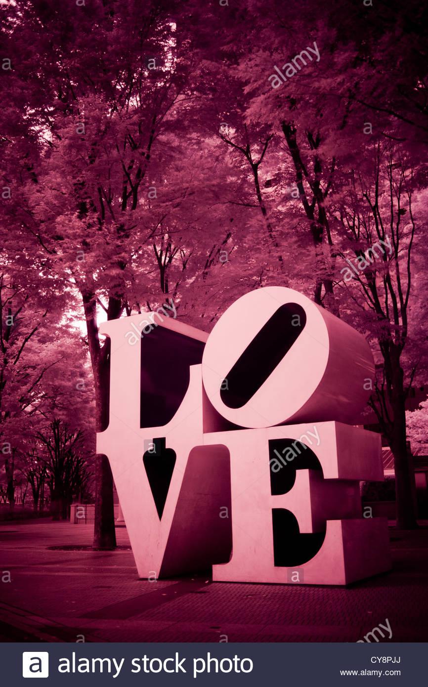An infrared image of Robert Indiana's LOVE sculpture in Shinjuku. Stock Photo