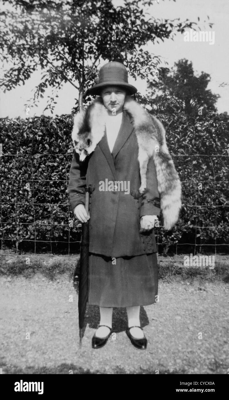Woman Wearing Fox Fur Stole Circa 1920s Uk Stock Photo