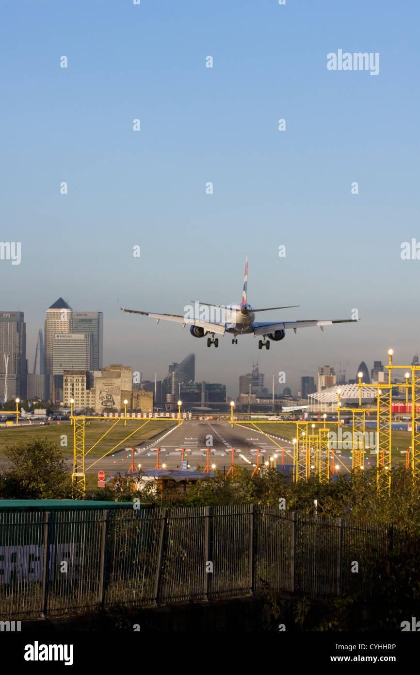 British Airways regional airliner landing at London City Airport, England, UK Stock Photo