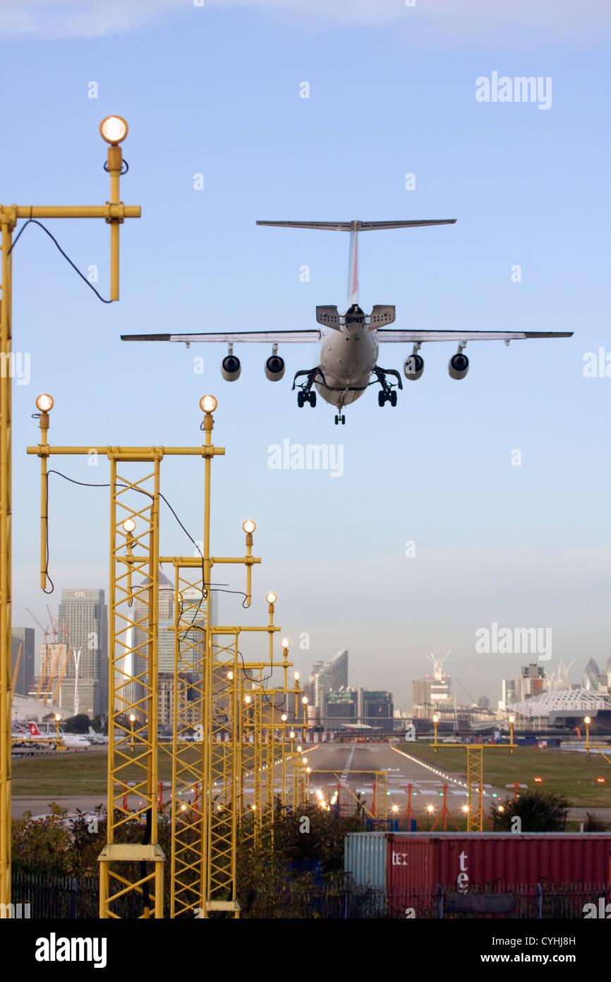 Regional airliner Landing at London City Airport, England, UK Stock Photo