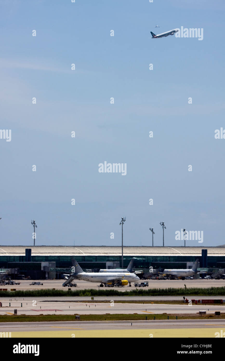 Passenger Airplanes at Barcelona El Prat Airport, Spain Stock Photo