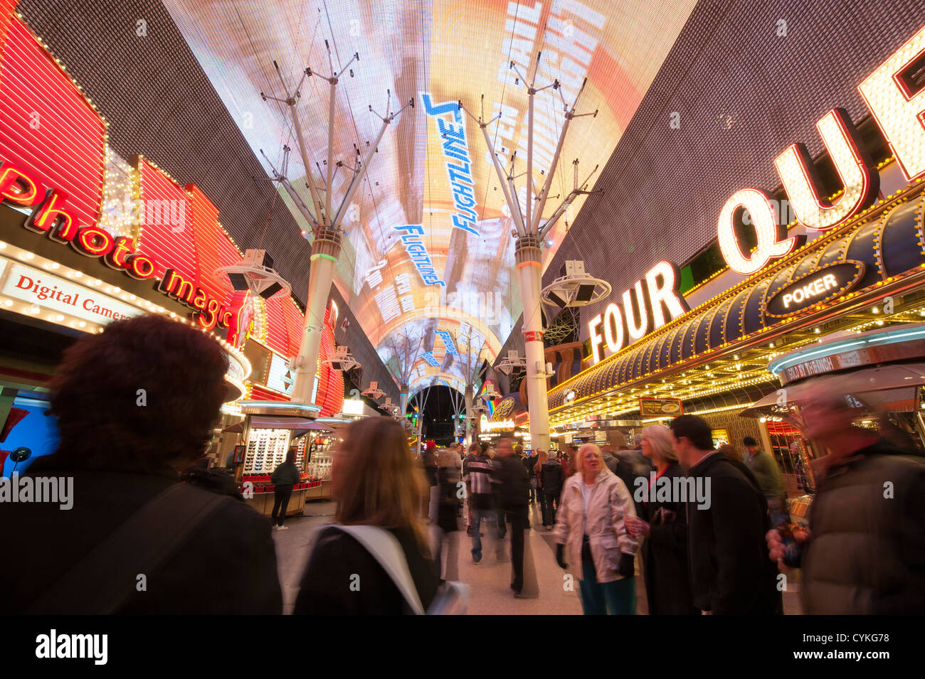 Nighttime At The Fremont Street Experience Neon Lights Las Vegas Stock Photo