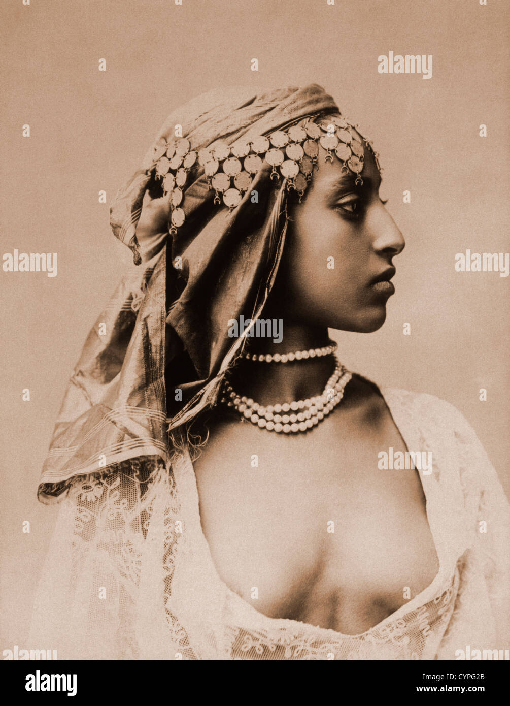 Egyptian Woman, Cairo, Egypt, Albumen Photograph, Circa 1870 Stock Foto