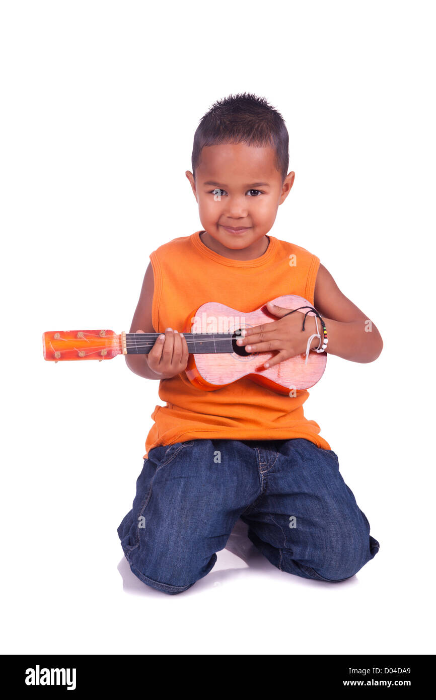 A portrait of a cute asian boy with guitar Stock Photo