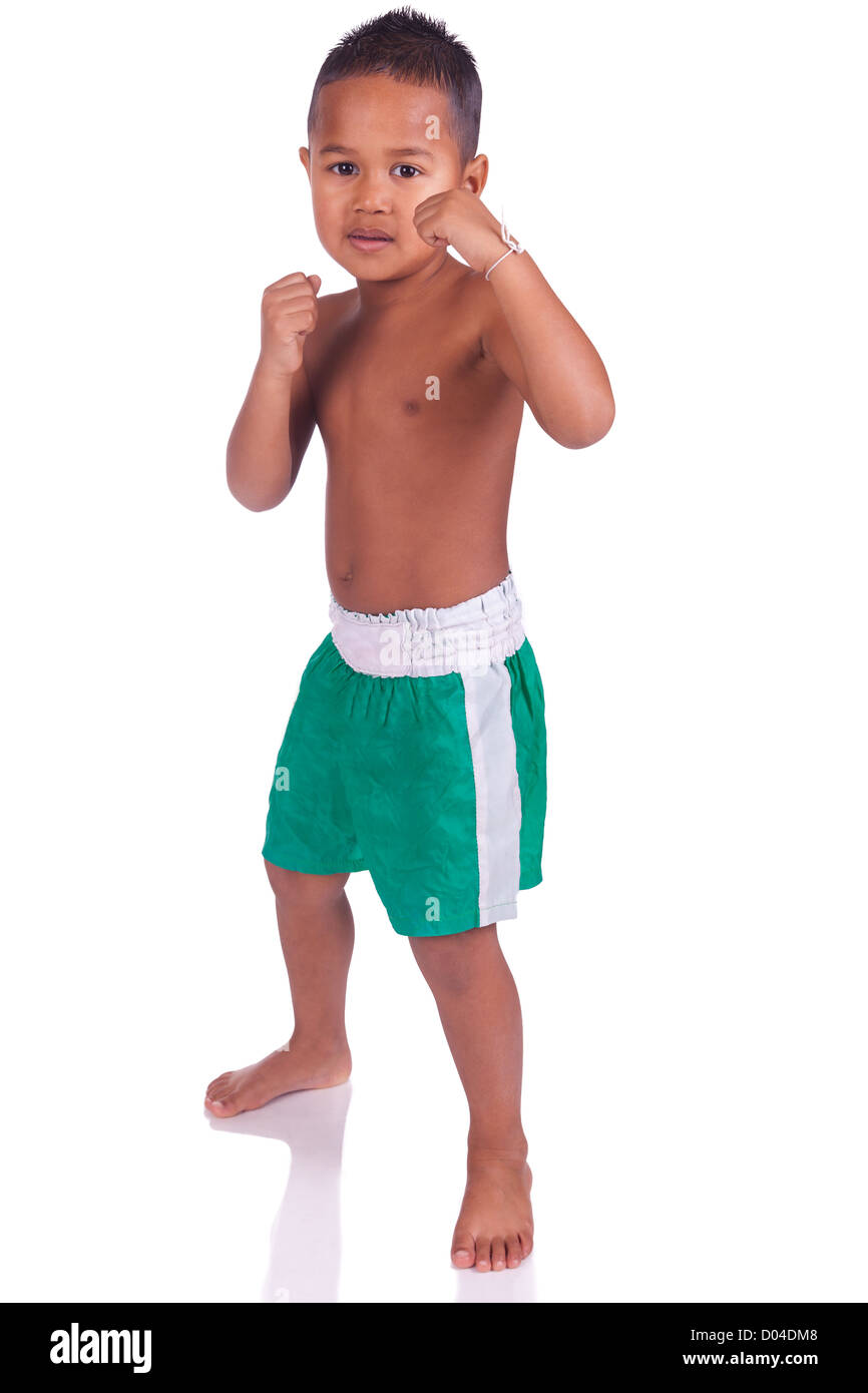 asian boy children before a fight Stock Photo